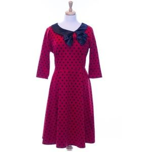 Lindy Bop Womens 2XL Cassy Dress Red Polka Dot Bow